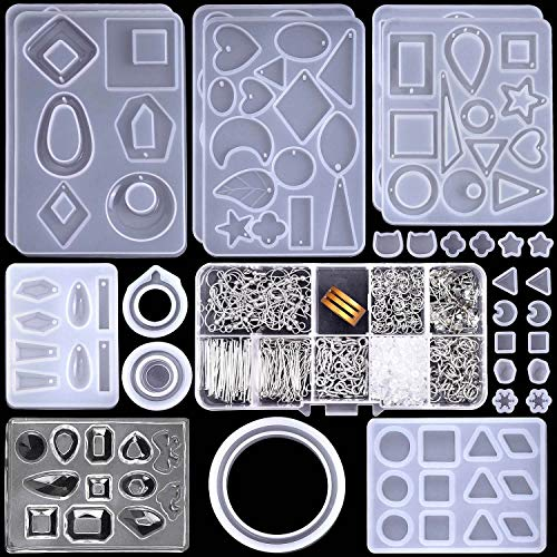 Resin Molds for Jewelry, Paxcoo 678pcs Earring Making Kit with 28pcs Earring Epoxy Molds and 650pcs Earring Hooks, Jump Rings for Resin Jewelry, Pendants, Resin Crafts, DIY Earring