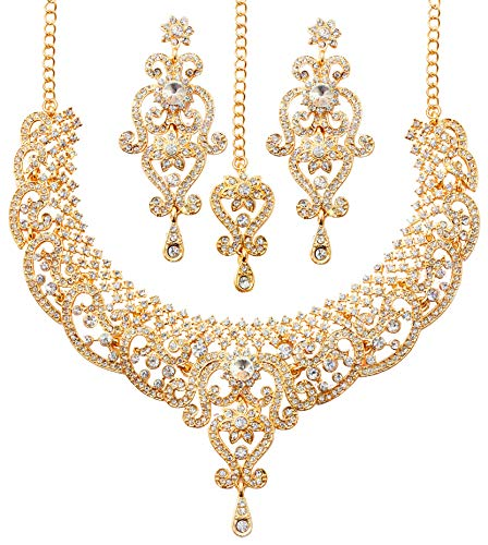 Touchstone gold tone royal Indian Hollywood white rhinestones grand bridal jewelry necklace set for women