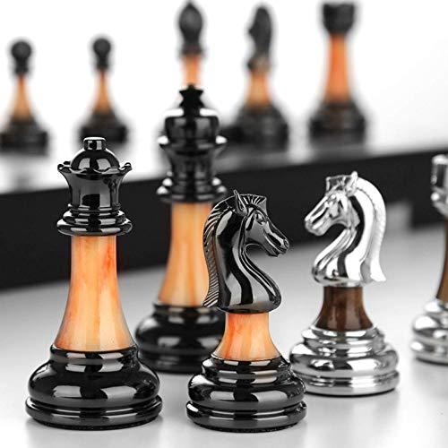 Pevfeciy Metallschach, tragbares Schach, faltendes Holzschach, professionelles hölzerne Schach-Set, Go-Brettspiel, Family Board-Spiele,45 x 45 cm