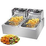 Commercial Deep Fryer 12L Electric Fryer 5000W Twin Basket Dual Tank Electric Deep Fryer Countertop Stainless...