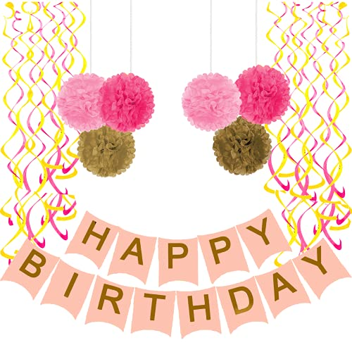 Happy Birthday Banner, Party Decorations with 6 Pom Pom Color Pink, Gold and Dark Pink, with 6 Hanging Swirls Gold and Pink, Birthday Decorations 30th 40th 50th 60th 70th Birthday