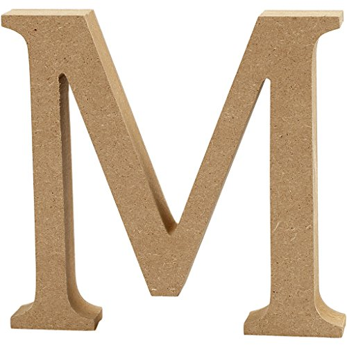 Creativ MDF Letter (13cm H, 2cm Thick) -M, Wood, Brown, 13 x 2 x 13 cm