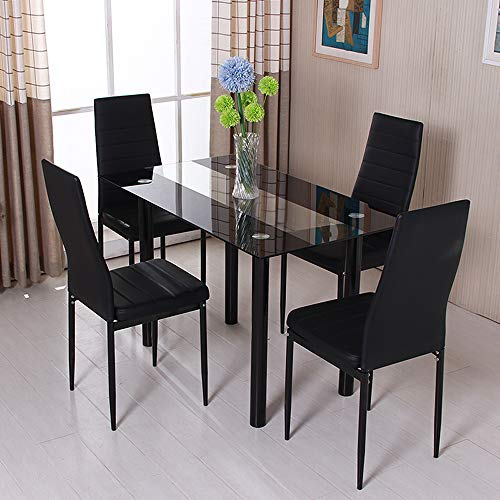 Homesailing EU Dining Room Sets Set of 4 PU Leather Dining Chairs and Black Rectangle Dining Table Kitchen Retro Upholstered Chairs