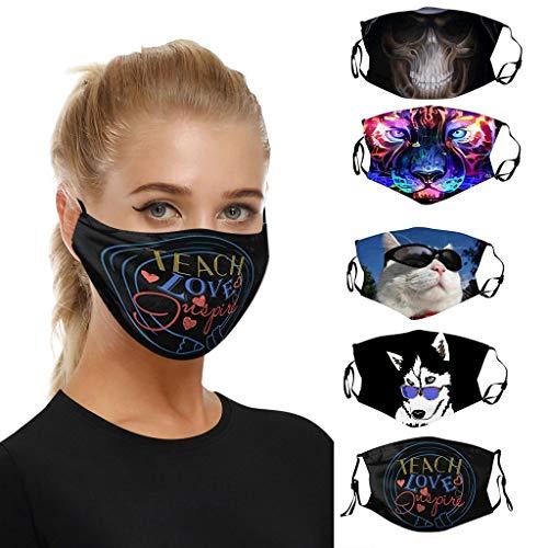 Lulupi 5 Stück Mundschutz Multifunktionstuch 3D Animal Print Maske Waschbar Atmungsaktive Stoffmaske Staubdicht Alltagsmaske Mund-Nasen Bedeckung Tiermotiv Bandana Halstuch Herren Damen