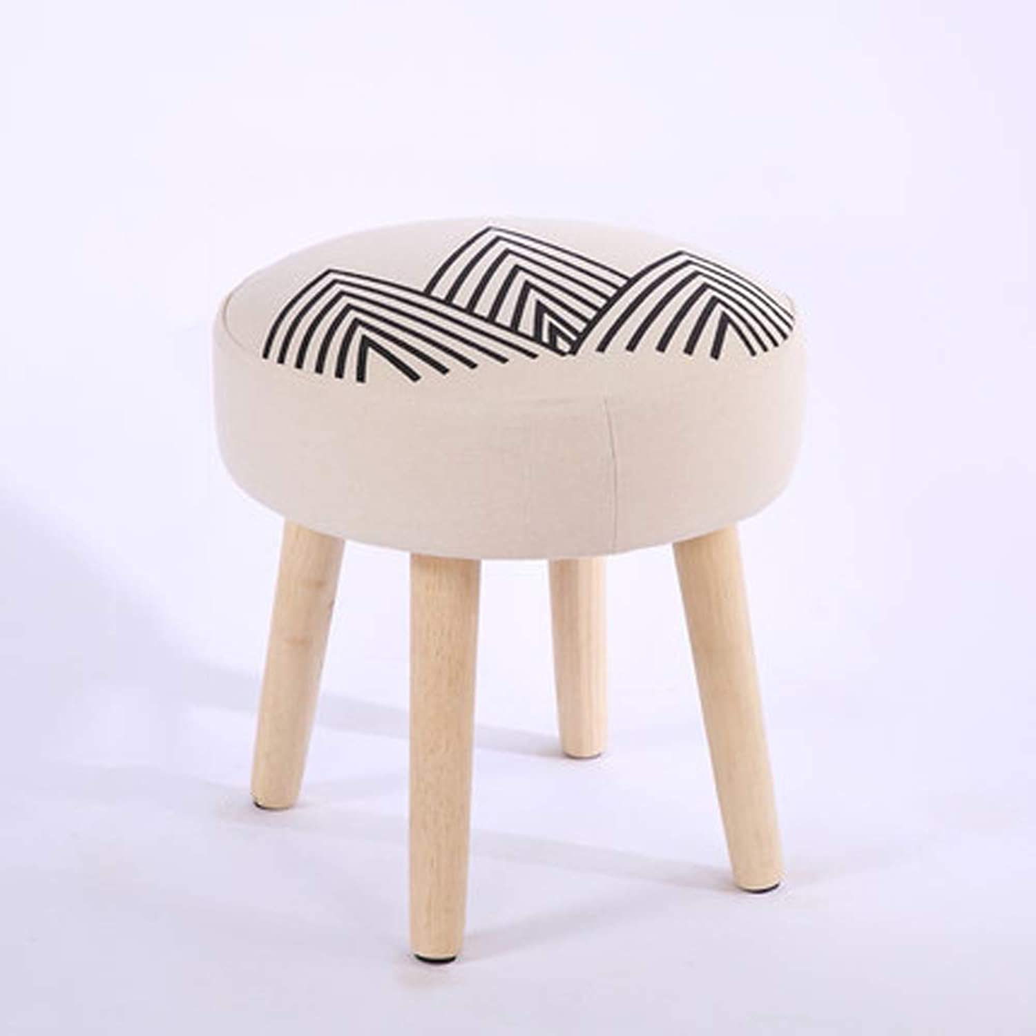 Rubber Wood Stool, Creative Home Round Stool Linen Cloth Wooden Legs,C,Small