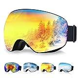 OMORC Gafas de Esquí, Gafas Snowboard, Unisex, Lente de Doble Capa, Protección UV y Antiniebla OTG Gafas de Esquí, Sistema de Ventilación, Ideal para Esquí, Patinaje, Motociclismo