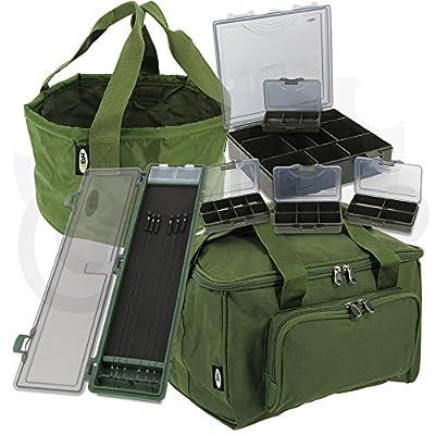 NGT Carp Fishing 4+1 Tackle Box Set + Quickfish Carryall Stiff Rig Wallet & Bowl