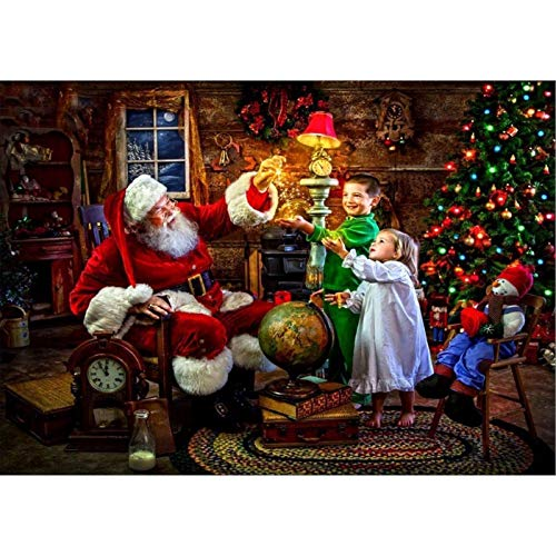 DIY 5D Diamond Painting by Number Kits,Full Round Drill Diamond Embroidery Kit Home Wall Decor Santa Claus and Carriage 11.8x15.7 in by Greatminer
