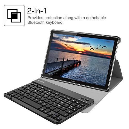 Fintie Huawei Mediapad M5 10.8/10.8 Pro QWERTZ Bluetooth Tastatur Hülle - Ständer Schutzhülle mit Magnetisch Abnehmbarer Drahtloser Deutscher Bluetooth Tastatur für Huawei M5 10,8 Zoll, Schwarz - 7