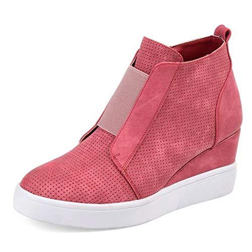 Zapatillas de Cuñas para Mujer Plataformas Botines Tacon Altas 4.5cm Slip On Casual Mocasines Deporte Zapatos Ligeras Negro Rosa Gris Leopardo 35-43 EU