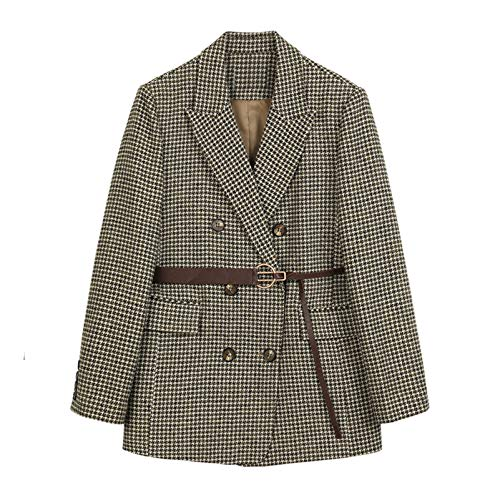 TY.OLK Otoño Invierno Plaid Mujer Blazer con cinturón Moda Oficina Bolsillo Traje de Tweed Abrigo
