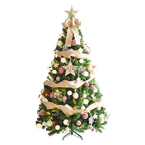 weiwei 1.5 m Christmas Tree LED Artificial Christmas Trees with Ribbon Star Ornaments String Light