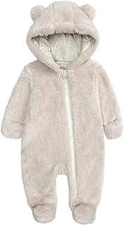 الوليد الشتاء لطيف مقنع الصوف الزحف الملابس بذلة الرضع طفل الفتيان الفتيات الدافئة قطعة واحدة (Color : H, Size : 0-3 Months)