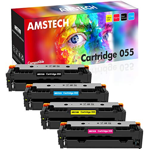 Price comparison product image Amstech Compatible Toner Cartridge Replacement for Canon 055 055H MF743Cdw Toner Canon Color ImageCLASS MF743Cdw MF741Cdw MF746Cdw MF745Cdw LBP664Cdw Printer Toner (Black Cyan Magenta Yellow,  4-Pack)