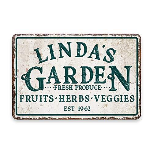 Gepersonaliseerde Vintage Distressed Look Fruit, Kruiden en Veggie Garden Metal Room Sign - Rustiek bord - Welkomstbord - Aangepaste deurborden