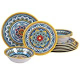 Certified International Portofino 12 piece Melamine Dinnerware Set, Service for 4, Multi Colored