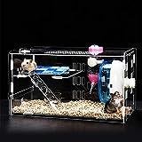 Keby 2019 Cage à Hamster en Acrylique avec Bol Alimentaire Transparent, Bouilloire, Roue de 12 cm pour Petit Animal Mini Hamster avec Accessoires
