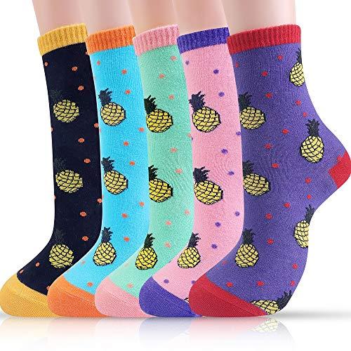 Belloxis Ananas Socken Damen Lustige Bunte Socken Kuschelsocken Damen 35 – 38 Geschenk(5 Paare)