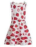 chicolife Enfants Fille Coton sans Manches Floral Années 50 Vintage Strawberry Rockabilly Robes De Fête Vêtements pour Ados,Fraise,8-9 ans(Taille Fabricant:Large)