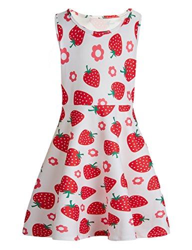 chicolife Sommer Kleinkind Baby Kinderkleidung Mädchen ärmellose Erdbeer Drucken Sommerkleid Prinzessin Tutu Kleider Outfits für Urlaub Schulparty