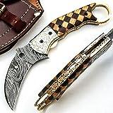 SJPR 9561 Cuchillo de bolsillo de hoja de acero de damasco hecho a mano personalizado con vaina billet cocinero cocina casa jardín coleccionable bar camping plegable