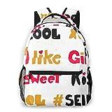 Laptop Rucksack Daypack Schulrucksack Backpack Blog Süße Kussliebe wie Mädchen, Business Taschen Freizeit Rucksack Arbeits Schultasche für Herren Männer Schüler Schule