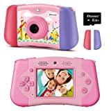 PROGRACE Kids Camera 12M Dual Lens Camcorder Toddler Girls Toy Birthday Gifts for 3 4 5 6 7 8 9 10 11 Years Old Children Selfie Camera with Music Game Kids Digital Video Camera