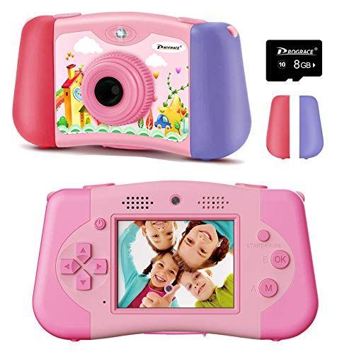 PROGRACE Kids Camera Toddler Girls Toy Gifts Handheld Game Consoles for 4-12 Year Old Children Camera for Kids Support 4000+ Games Music Selfie Kids Digital Video Camera 12M(Pink)