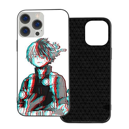 Kompatibel mit iPhone 12/12 Pro Max 12 Mini 11 Pro Max SE X/XS Max XR 8 7 6 6s Plus Hülle 3D Shoto Todoroki Mha Anime Temperiertes Glas Schwarz Handyhülle