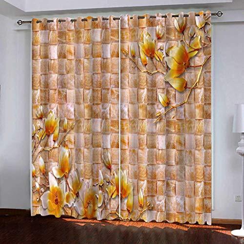 Hailongdia Cortinas Súper Suave Apagón Moderno Creativo Flores A Cuadros 3D Tela De Seda Negra Cortinas con Aislamiento Térmico 250 (H) X140 (W) Cmx2