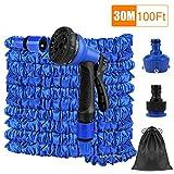 FEALING Manguera de Jardín Extensible Azul, 100FT 30m Flexible Manguera de Jardín Manguera de Riego con 7 Funciones Pistola pulverizadora para Jardines, Limpieza automóviles