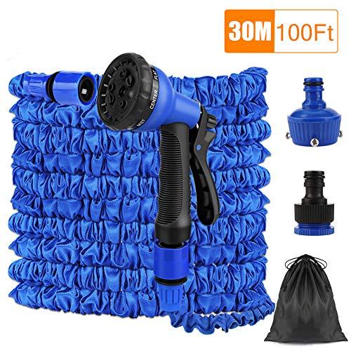 FEALING Flexibler Gartenschlauch Blau,100FT 30M Flexibler Gartenschlauch Wasserschlauch dehnbar Flexi Wonder mit Mehrere Funktion Garten Handbrause FlexiSchlauch für Reinigung Gartenarbeit