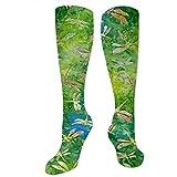 ulxjll Calcetines De Compresión Indonesia Batik Libélula Verde Calcetines De Compresión Médica Hombres Atlético Mejor Graduados Corriendo Mujeres Hombres Mujeres Vuelo Viaje 50Cm