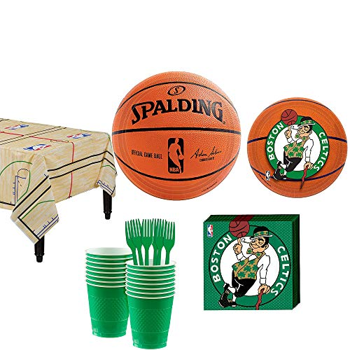 Party City Boston Celtics Party Supplies For 16 Guests, Includes Table Cover, Plates, Napkins and More