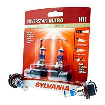 SYLVANIA - H11 SilverStar Ultra plus Free Installation Gloves - High Performance Halogen Headlight Bulb High Beam Low Beam Fog Replacement Bulb Brightest Downroad Whiter Light  Contains 2 Bulbs