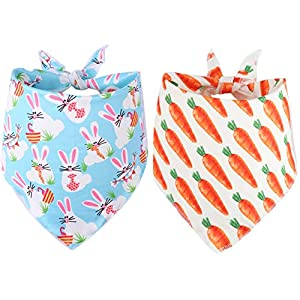 BoomBone 2 Pack Easter Dog Bandana,Triangle Bibs Pet Scarf for Medium to Large Dogs