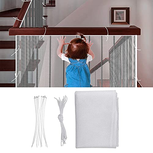 BAICHUN 3m Stair Railing Safety Net,Child Safety Stairs Net, Baby Fall Protection Net, Fall Protection Safety Net,Balcony Safety Net With Rope And Plastic Buckle(Size:200×78cm,Color:White)