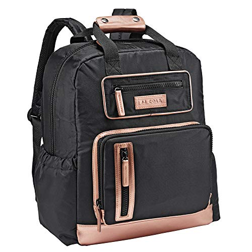 JJ Cole - Papago Pack Diaper Bag, Gender Neutral Large Capacity Backpack with Stroller Clips, Changing Pad, and Multiple Pockets for Baby Supplies, Black & Rose Gold