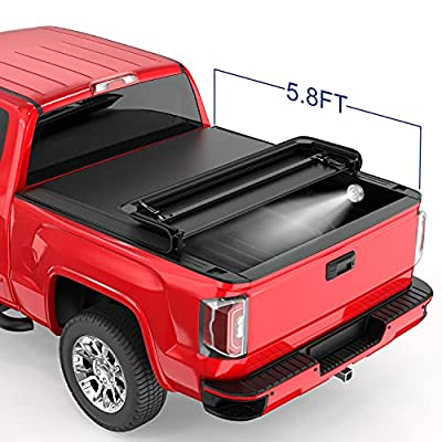 MOSTPLUS Tri Fold Soft Truck Bed Tonneau Cover Compatible for 2004 2005 2006 2007 Chevrolet Chevy Silverado/GMC Sierra 1500 2500 3500 Fleetside 5.8 FT On Top
