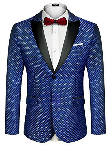 COOFANDY Men's Fashion Tuxedo Jacket Embroidered Suit Jacket Luxury Blazer for Dinner,Party,Wedding,Prom Blue