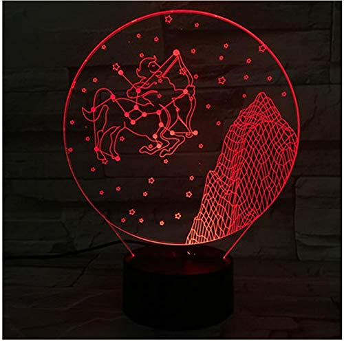 Sagitario 3D Lámpara Luz de noche Bombilla LED Multicolor Flash Regalos de Navidad para niños Guardián Estrella Júpiter Patrón San Zeus Touch 7 colores