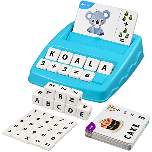 JAYEE Matching Letter Game, 2 in 1 Educational Game for Basic Letter Recognition & Vocabulary Accumulation and Arithmetical Skill, Interactive Spelling Toy for Preschool Kindergarten Kids
