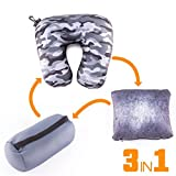 Multifunctional Travel Pillow – Customizable and Compact Neck Support Pillow Perfect For Airplane, Trains, Car and More – Must-Have International Travel Accessories for Long Flights by Choose&Relax