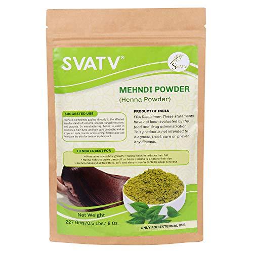 SVATV :: 100% natürliches biologisch angebautes Hennapulver speziell für Haare - dreifach gesiebtes Hennapulver - Lawsonia Inermis (für Haare - 227 g) - Keine PPD-Chemikalien, keine Parabene