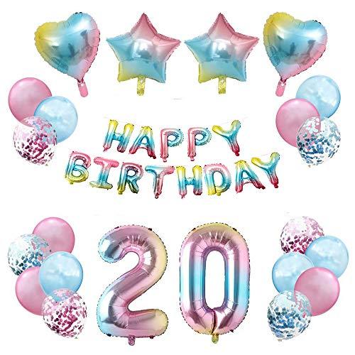 JinSu 20 Anni Compleanno Decorazioni per Ragazza Bambina, 35 Pezzi Palloncini per Compleanno, Bandiera Happy Birthday, Palloncino in Foil a Stella, Palloncini in Lattice con Coriandoli