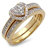Dazzlingrock Collection 0.23 Carat (ctw) 14K Round Diamond Heart Shaped Engagement Ring Set 1/4 CT, Yellow Gold, Size 8.5