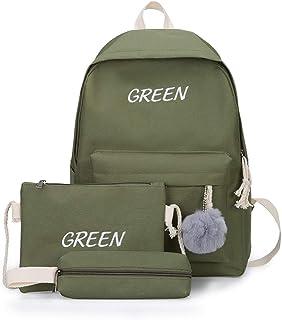Canvas Backpack Female 3 Pcs/Set Women School Backpacks Ladies Back Bags for Teenagers Girls Casual Student Satchel,Green
