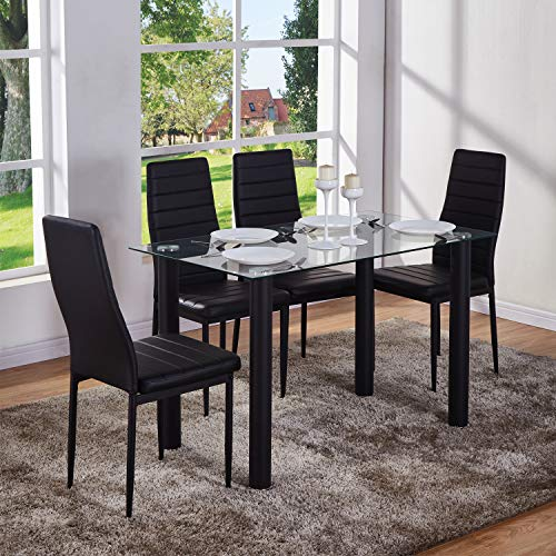 GOLDFAN Glass Dining Table and Chairs Set of 4 Modern Rectangular Kitchen Table and Black Faux Leather Chairs Kitchen Table Set Office Furniture