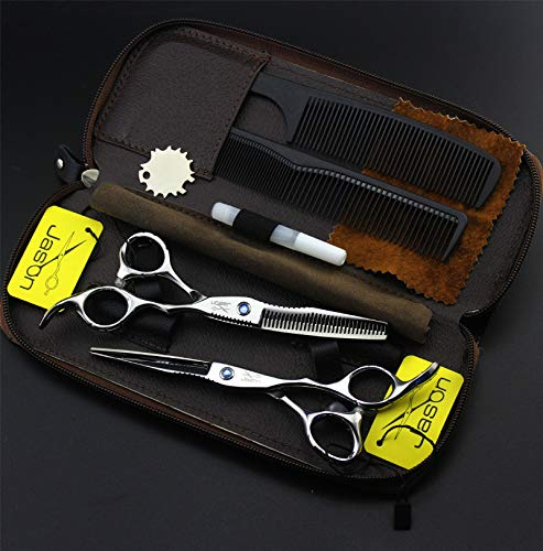 YINGS Tijeras de peluquería Juego de peluquería Profesional de 6,0 Pulgadas Cizalla Plana Cizalla de Adelgazamiento Uso doméstico en peluquería