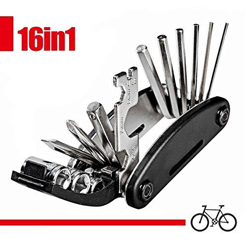 iNeith Fahrrad Reparatur Multifunktionswerkzeug 16 in 1 Set Fahrradwerkzeug für Fahrräder Mini Falt Multitool Werkzeug